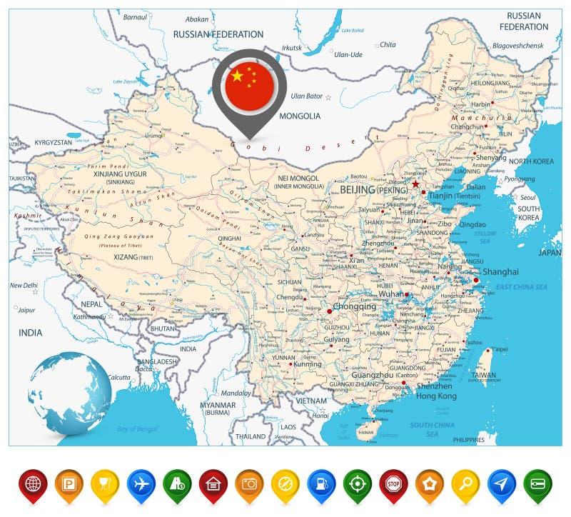 Marcadores do mapa de estradas e do mapa de China ilustração royalty free