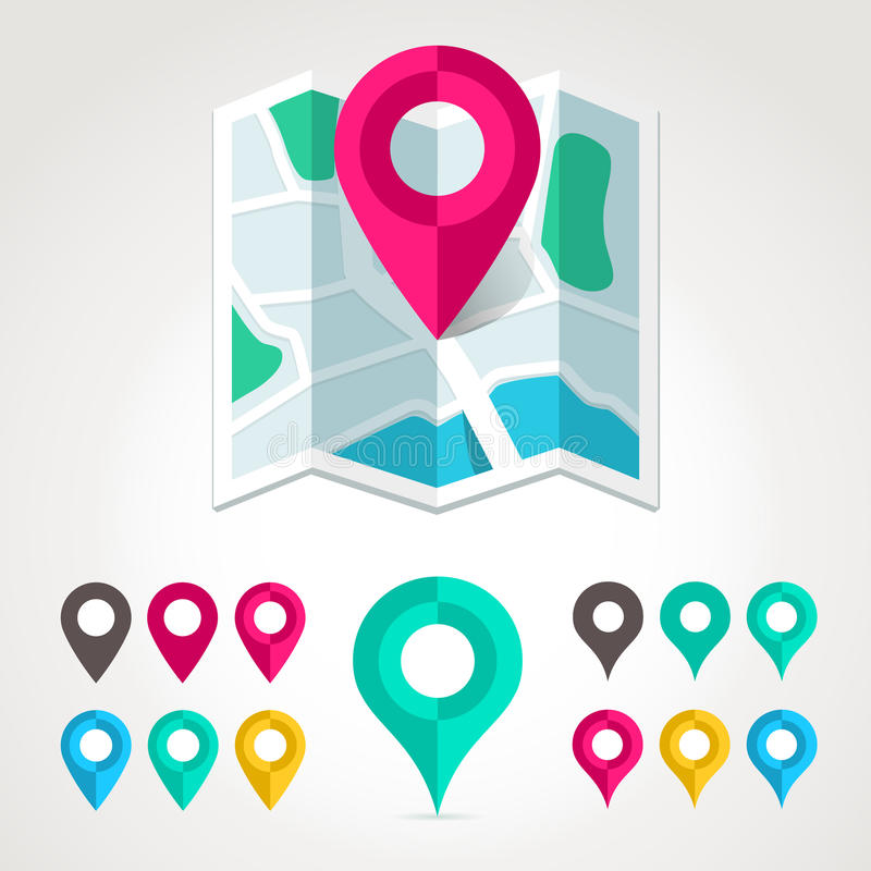 Marcadores do mapa e ícone liso do mapa