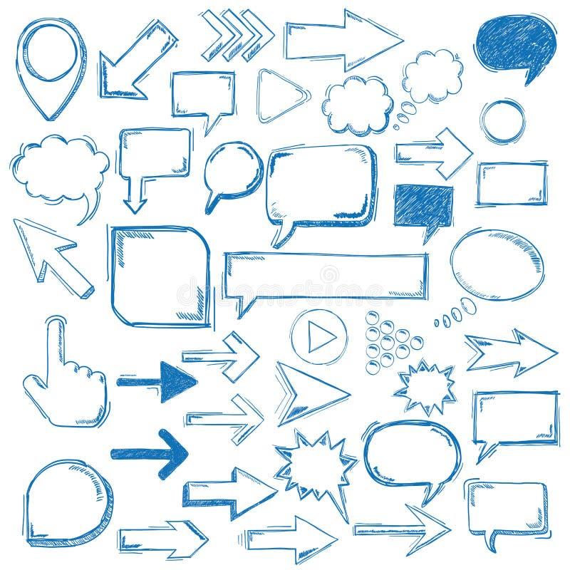 Marcadores grandes de las flechas de las burbujas de los elementos de Oldschool ilustración del vector