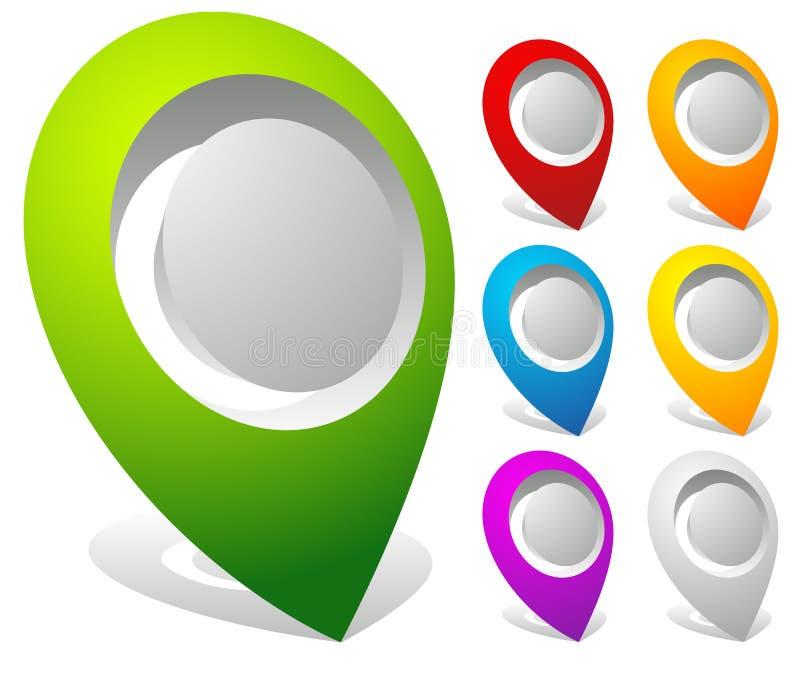 marcadores intrépidos del mapa 3d, pernos del mapa en 7 colores ilustración del vector