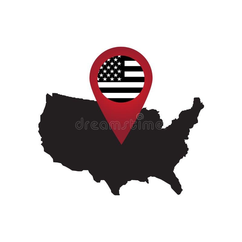 Marcadores vermelhos do mapa em América ilustração do vetor