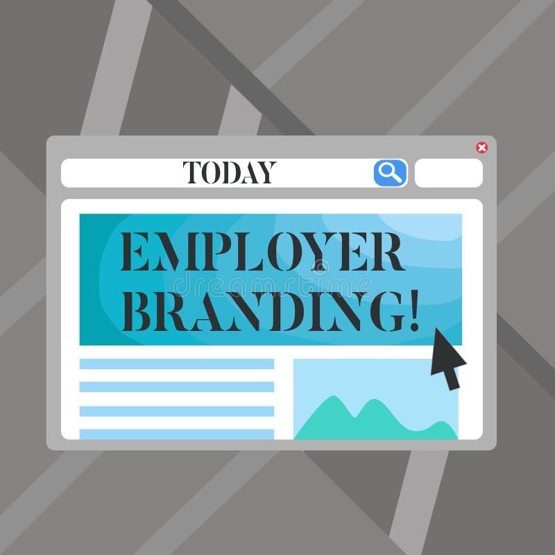 Marcagem com ferro quente do empregador do texto da escrita da palavra Conceito do negócio para promover a escolha do empregador  ilustração stock