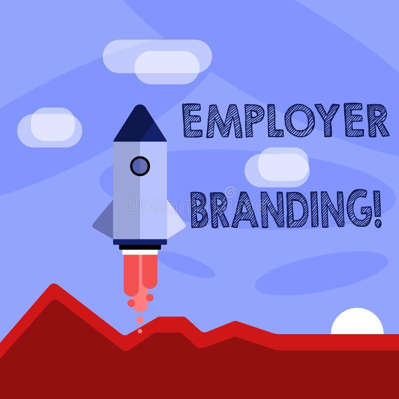 Marcagem com ferro quente do empregador do texto da escrita da palavra Conceito do negócio para promover a escolha do empregador  ilustração royalty free
