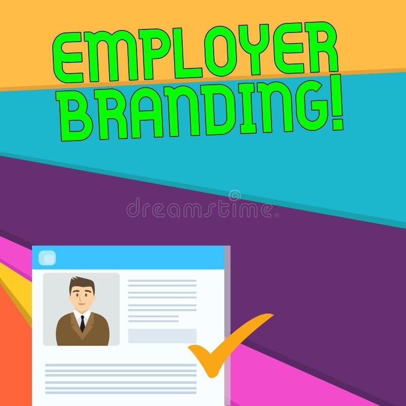 Marcagem com ferro quente do empregador do texto da escrita Significado do conceito que promove a escolha do empregador da empres ilustração stock