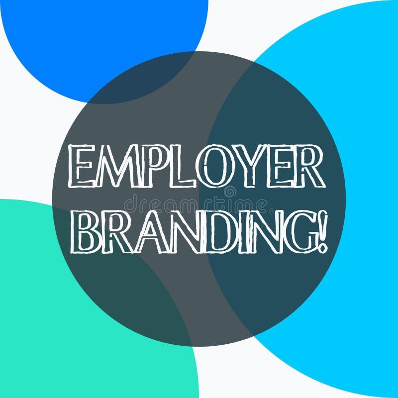 Marcagem com ferro quente do empregador do texto da escrita Significado do conceito que promove a escolha do empregador da empres ilustração do vetor