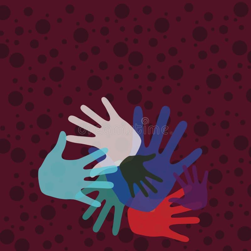 Marcas coloridas da mão dos tamanhos diferentes que sobrepõem a cobertura Ideia criativa do fundo para Team Bulding Presentation ilustração do vetor