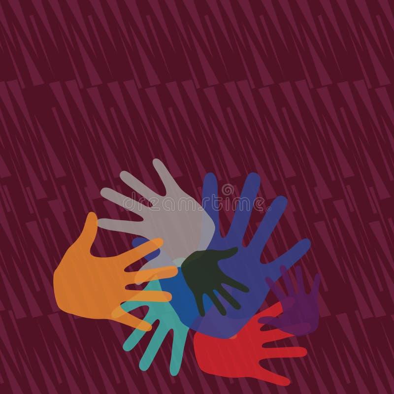 Marcas coloridas da m?o dos tamanhos diferentes que sobrep?em a cobertura Ideia criativa do fundo para Team Bulding Presentation ilustração royalty free