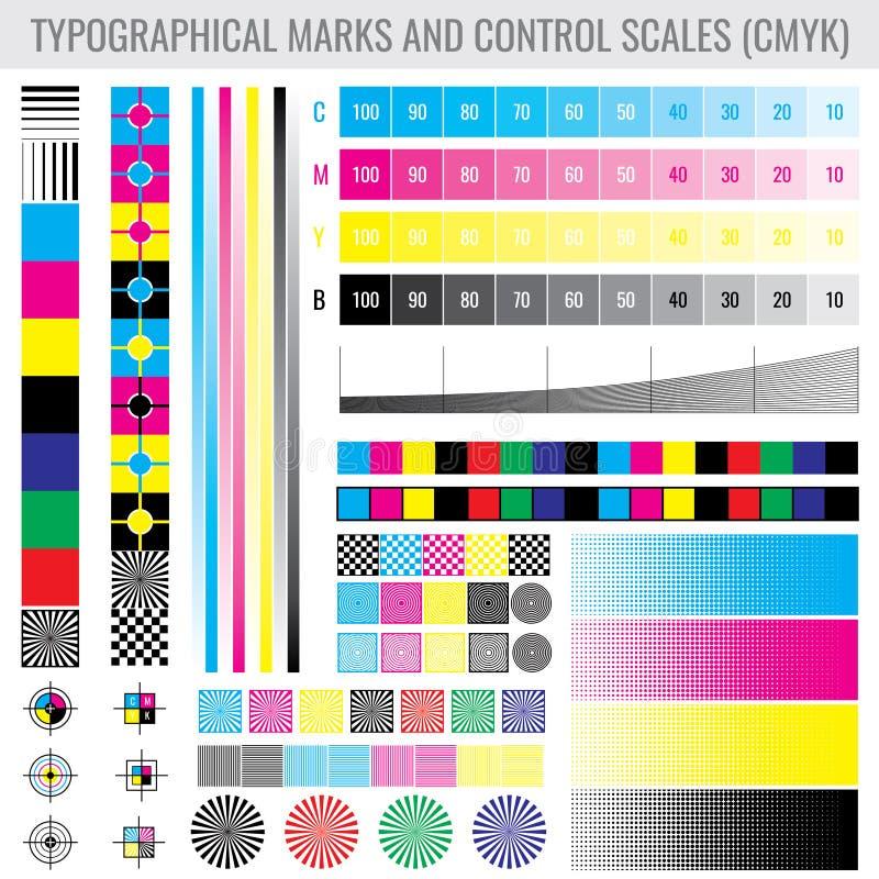 Marcas da cópia da imprensa de CMYK e barras do inclinação do tom da cor para o grupo do vetor do teste da impressora ilustração do vetor