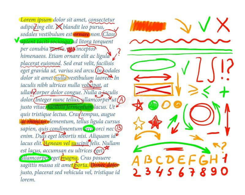 Marcas da correção do texto do vetor, molde do texto, grupo de elementos do projeto, verificação do livro de exercício ilustração stock
