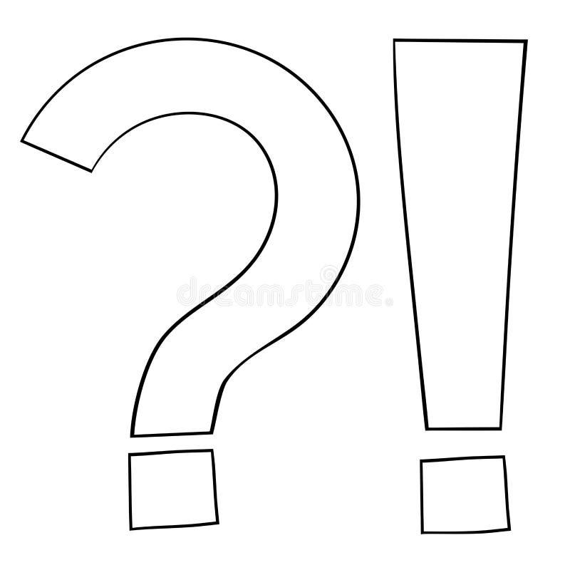 Marcas da pergunta e do Exlamation ?cone do esbo?o ilustração do vetor