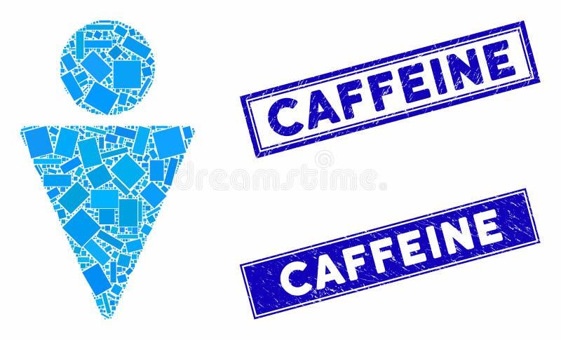 Marcas de agua de cafeína de Man Mosaic y Grunge Rectangle libre illustration