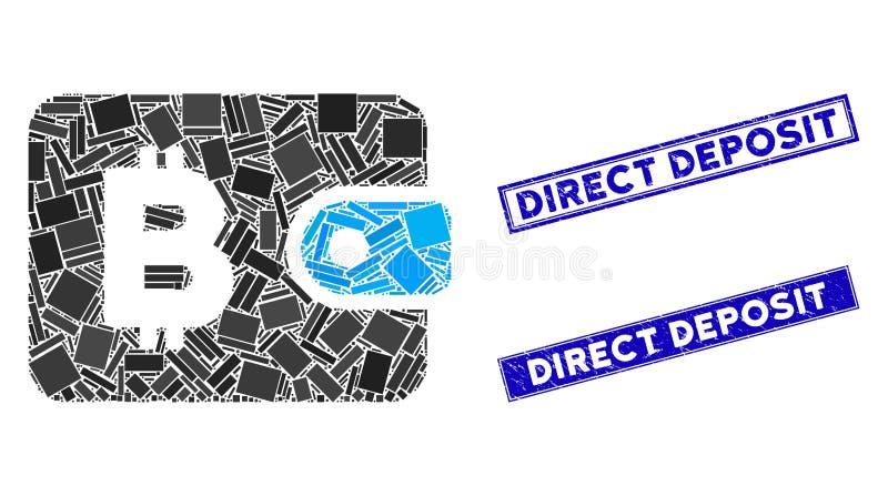 Marcas de agua de depósito directo de Bitcoin Pouch Mosaic y Grunge Rectangle ilustración del vector