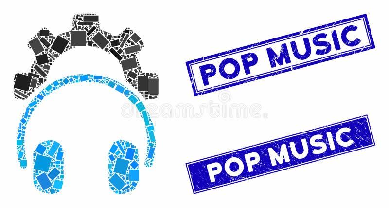 Marcas De Agua De La Música Pop De Rectángulo Rastrado Y Mosaico De Configuración De Auriculares Ilustración Del Vector Ilustración De Agua Rastrado 166257905