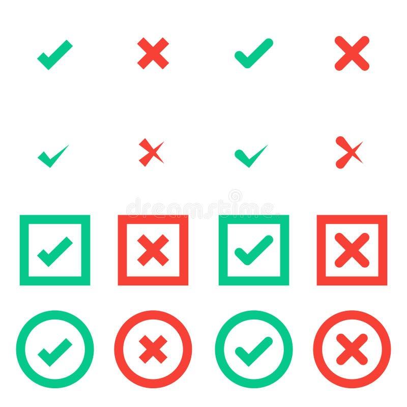 Marcas de cotejo de la señal verde y de la Cruz Roja en círculo e iconos planos cuadrados libre illustration