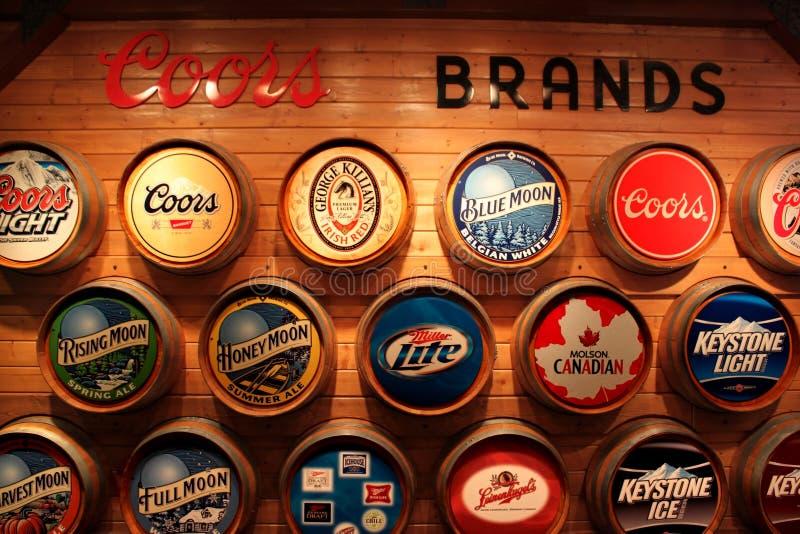 Marcas de fábrica de la cerveza de Coors imagen de archivo