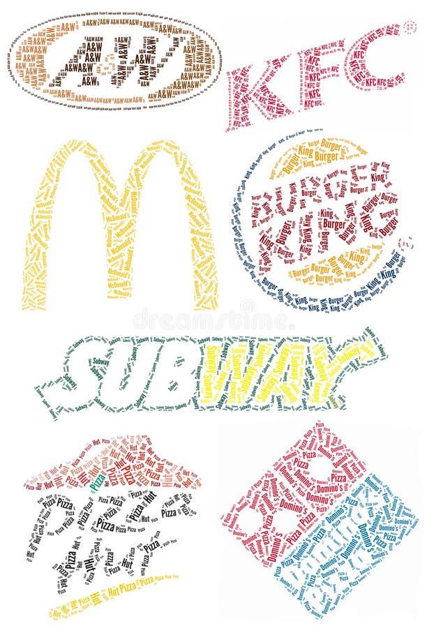 Marcas de fábrica famosas de los alimentos de preparación rápida ilustración del vector
