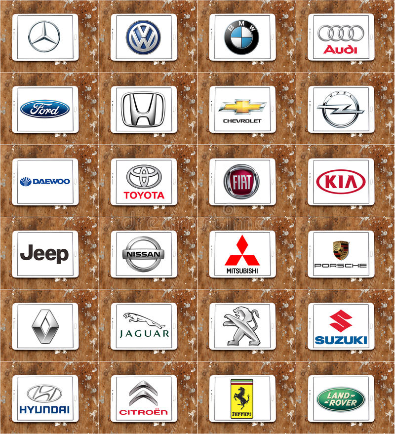 Marcas de fábrica famosas del coche del mundo stock de ilustración