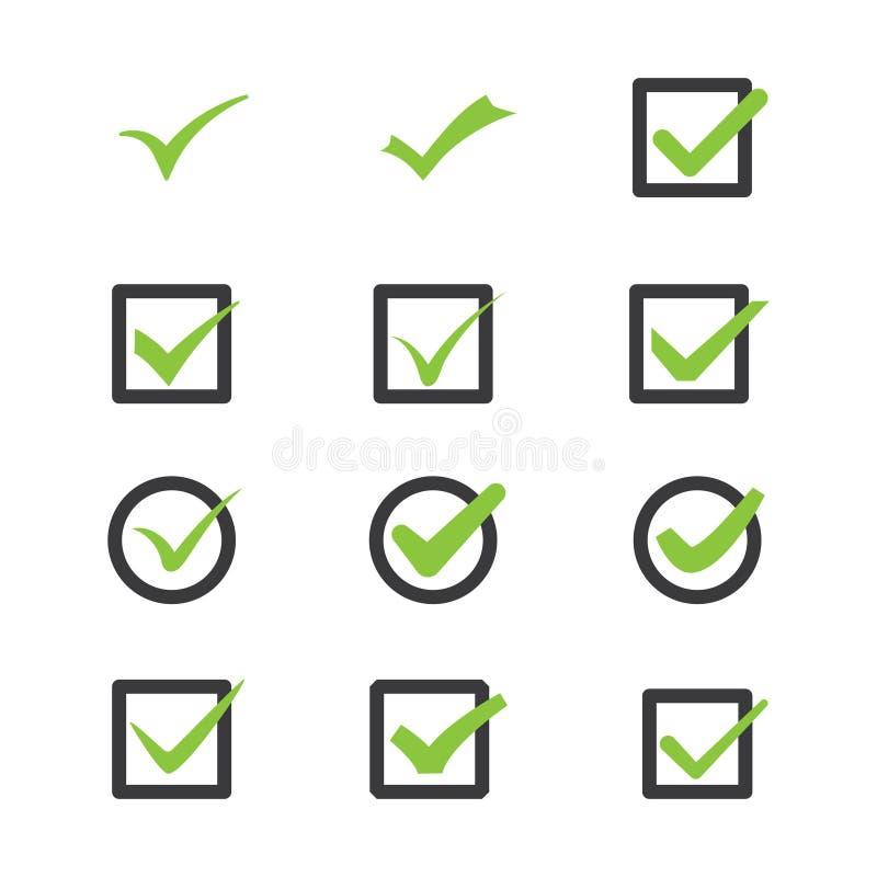 Marcas de la aprobación ilustración del vector