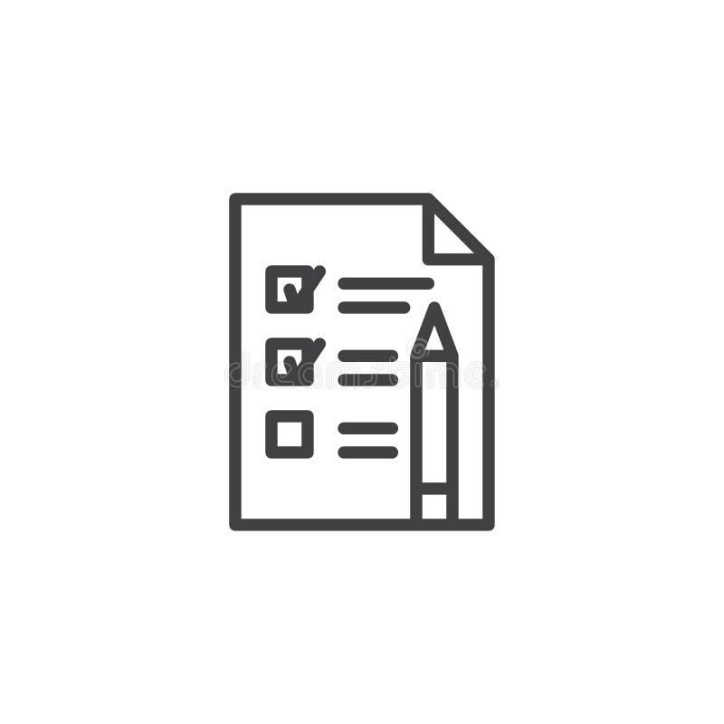 Marcas de la lista de verificación con el icono del esquema de la pluma libre illustration