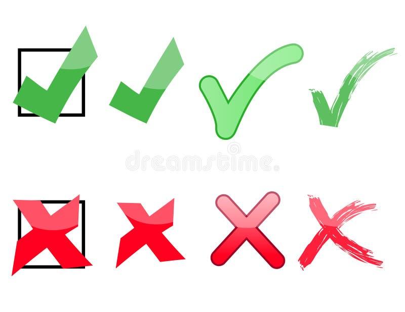 Marcas de la verificación y de X stock de ilustración