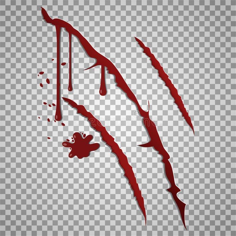Marcas de risco ensanguentados Feridas entalhadas vetor com gotas do sangue ilustração royalty free