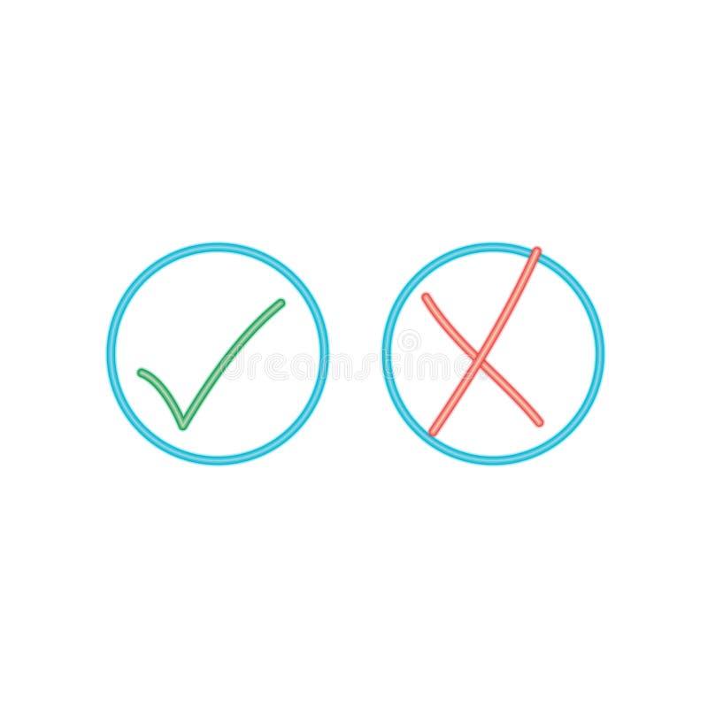 Marcas de verificação de néon ilustração stock