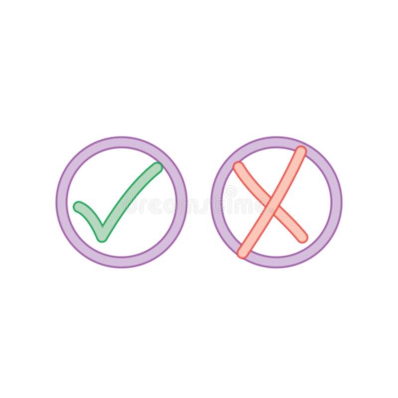Marcas de verificação de néon ilustração do vetor