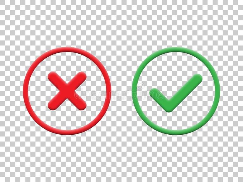 Marcas de verificação vermelhas e verdes isoladas no fundo transparente Ícones da marca de verificação do vetor ilustração stock