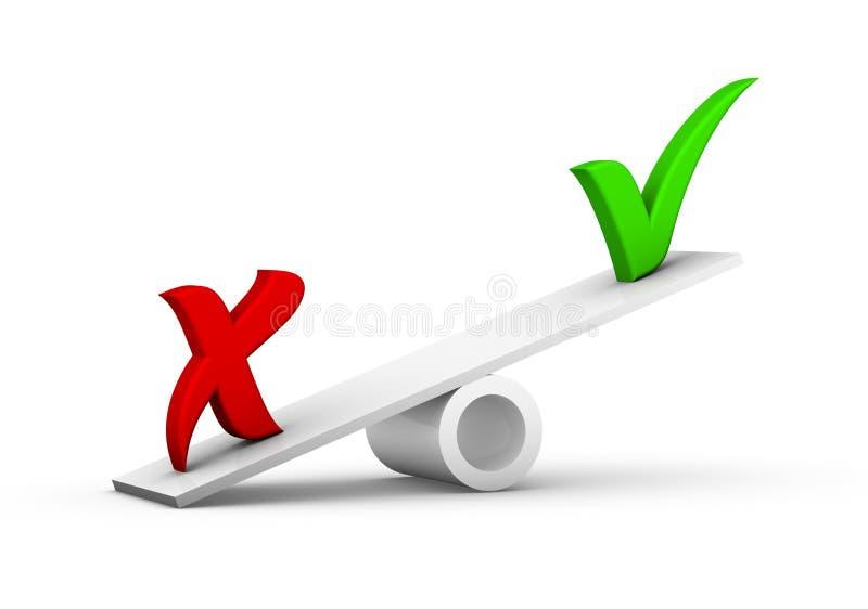 Marcas de verificación en el balancín stock de ilustración