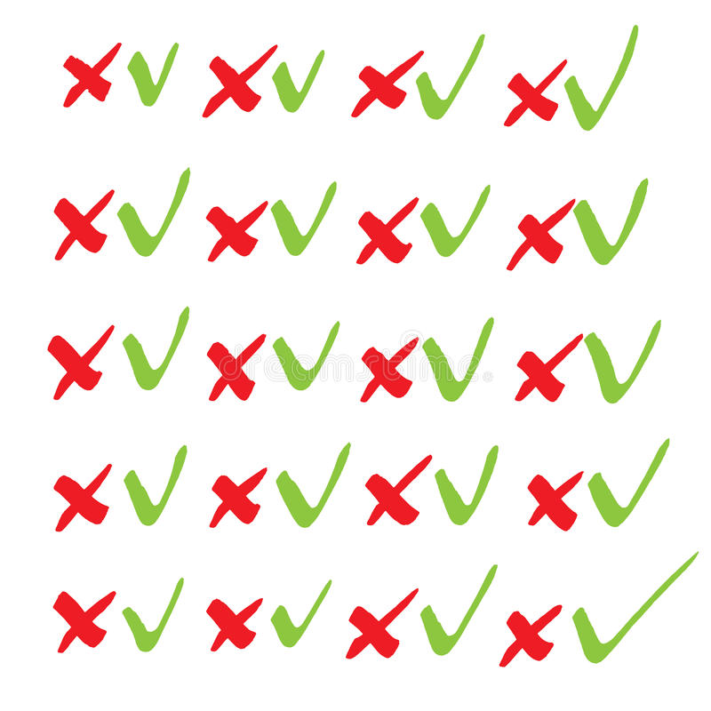 Marcas de verificación Serie de dibujo del marcador en formato del vector El color puede b stock de ilustración