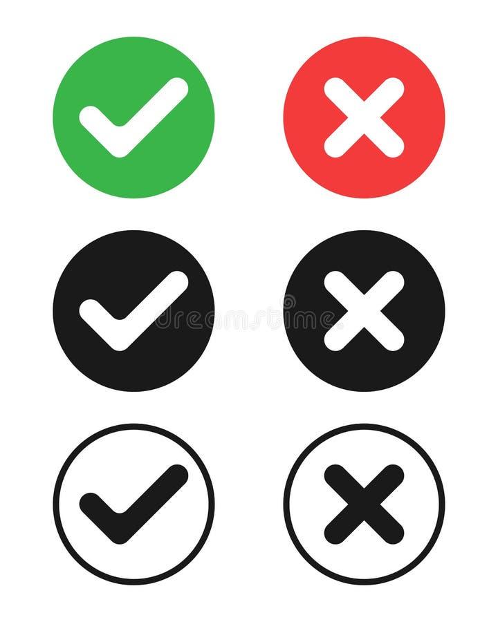Marcas de verificación y símbolos de las cruces stock de ilustración