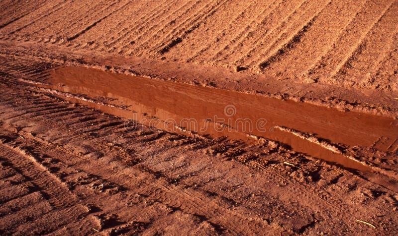 Marcas del carro en un camino de tierra fotografía de archivo
