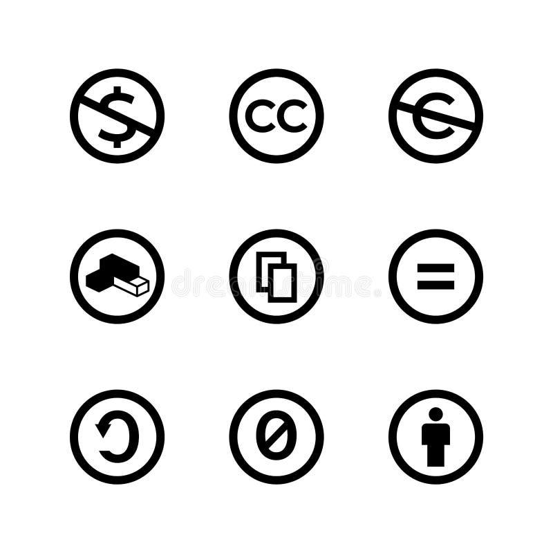 Marcas e iconos públicos de la licencia de los derechos reservados de los campos comunes creativos stock de ilustración