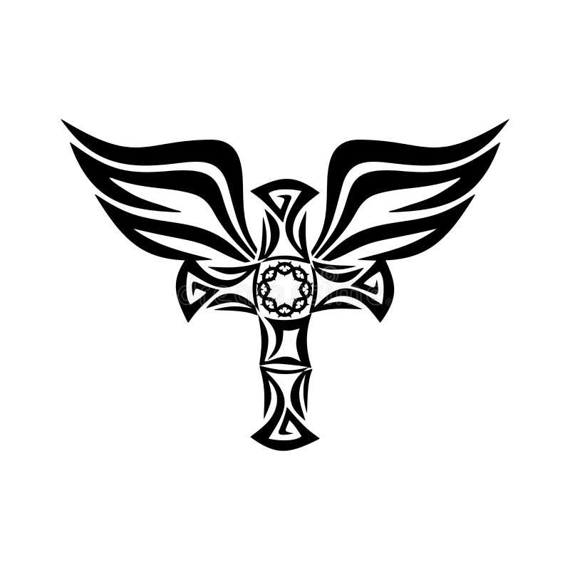 Marcas góticos e da tatuagem Símbolos cristãos Asas do Espírito Santo transversal e ilustração stock