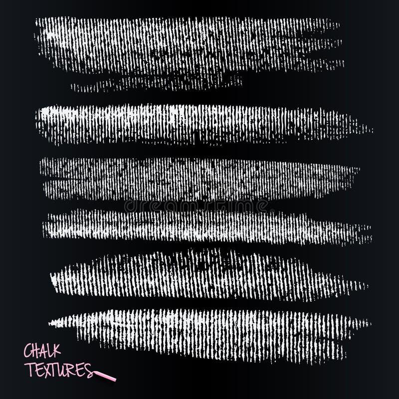 Marcas y carbón de la tiza Cepillo dinámico del vector en la pizarra Pincelada, brocha Textura acanalada stock de ilustración