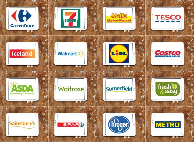 Marcas y logotipos de cadenas de supermercados famosas superiores y de la venta al por menor imagen de archivo