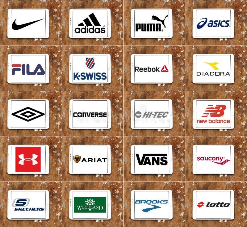 Marcas y logotipos famosos superiores de las compañías de la ropa de deportes stock de ilustración