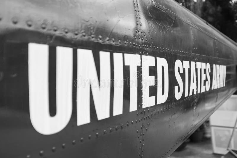 Marcatura dell'esercito di Stati Uniti su un elicottero immagine stock