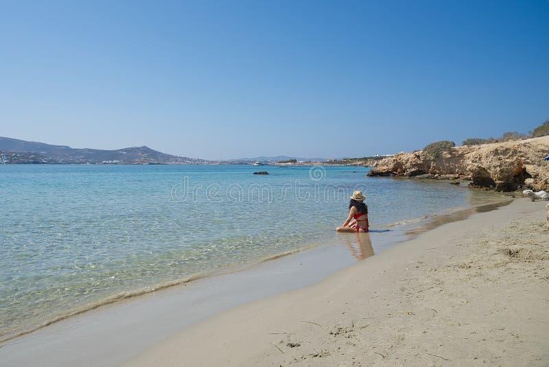 Marcello-Strand - die Kykladen-Insel - Paroikia Parikia Paros - Griechenland lizenzfreie stockfotos