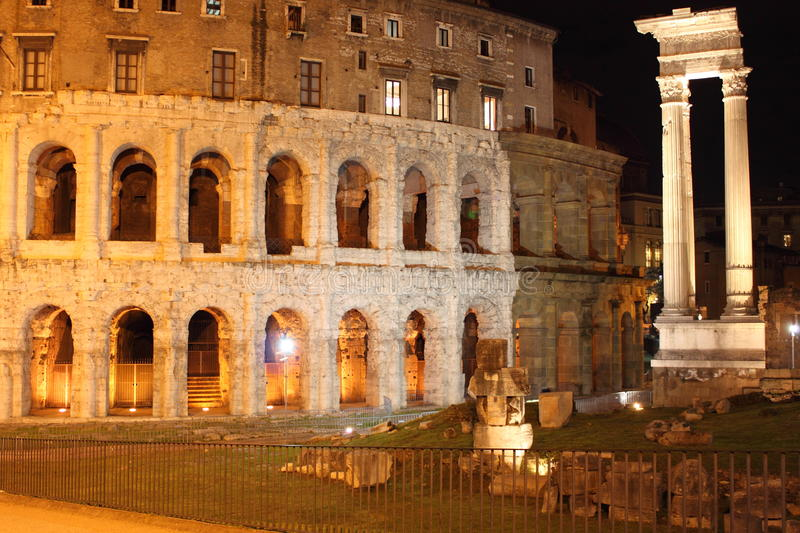 Theatre of Marcellus by night royalty free stock images