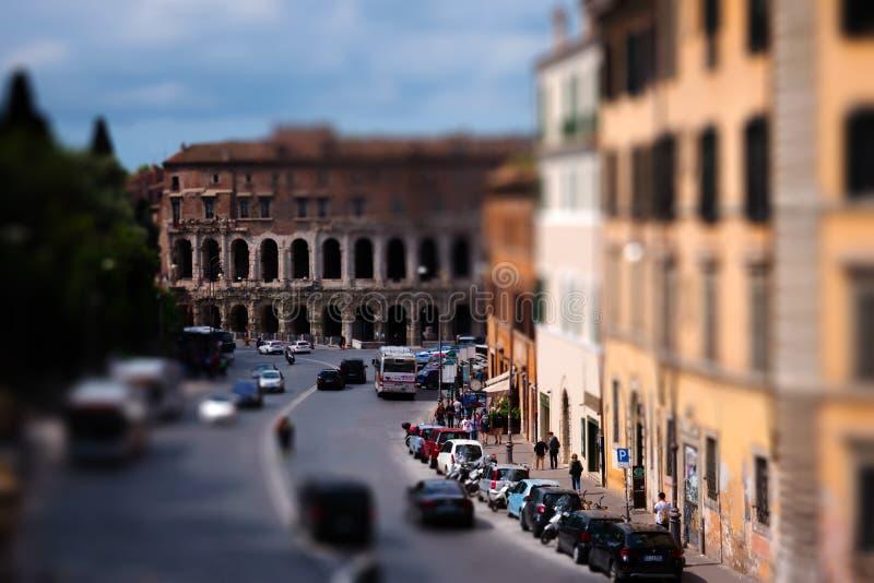 Marcellus theater was het grootst en opleggend theater van oud Rome stock afbeeldingen