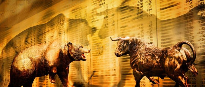 Marché boursier d'ours et de taureau illustration de vecteur