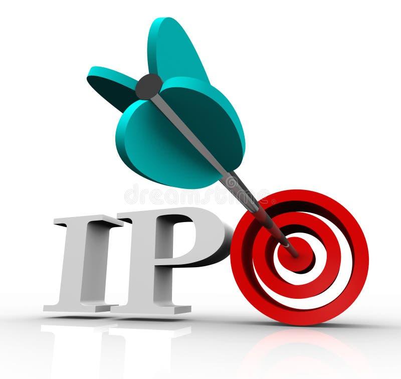 Marché boursier initial de cible de flèche d'appel public à l'épargne d'Ipo illustration de vecteur