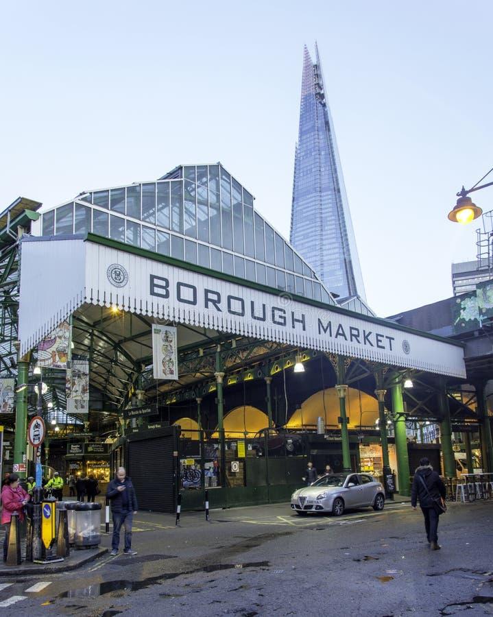 Marché célèbre de la ville de Londres avec le tesson de Londres photos libres de droits