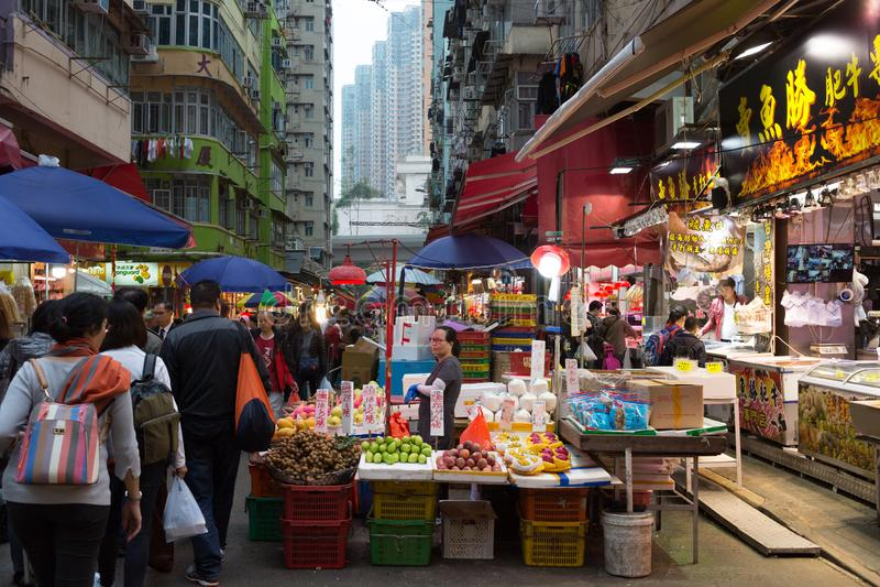 Marché chinois dans Kowloon, Hong Kong photo libre de droits