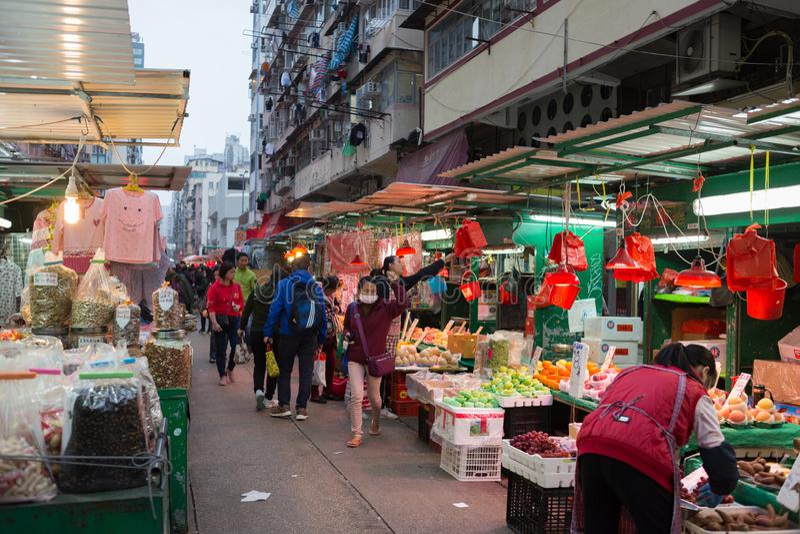 Marché chinois dans Kowloon, Hong Kong images libres de droits