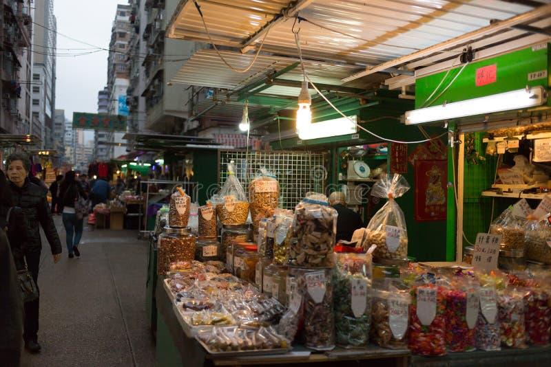 Marché chinois dans Kowloon, Hong Kong photos stock