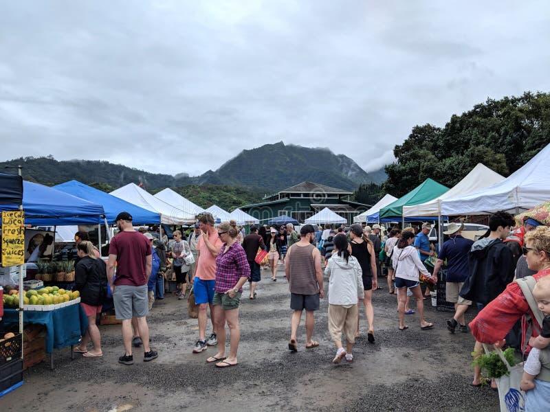 Marché d'agriculteurs de Hanalei photo stock