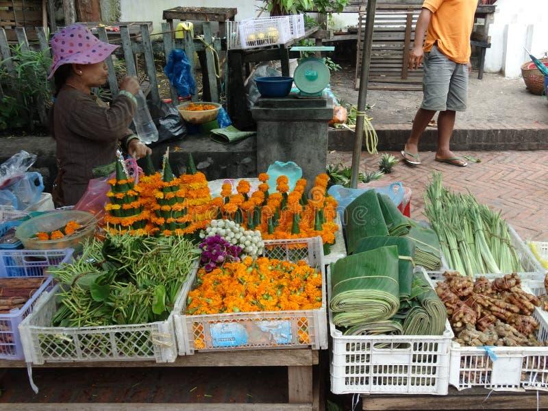 Marché d'air ouvert, Luang Prabang, Laos images libres de droits
