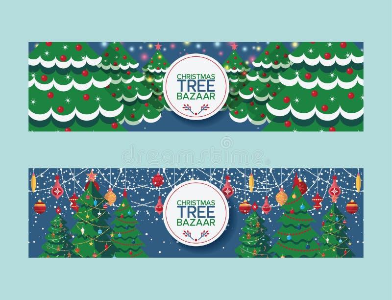 Marché de bazar de cimes d'arbre de Noël de vecteur d'arbre de Noël joyeux vendant l'illustration traditionnelle de sapin de pin  illustration libre de droits